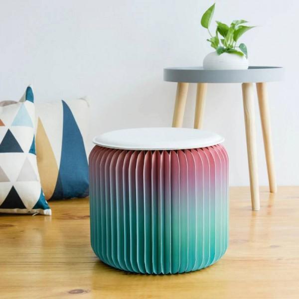 Sgabello moderno design pieghevole in carta sedia-moda con 1 pad in pelle multifunzione per scuola, cucina, soggiorno e sala da pranzo