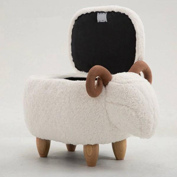 Sgabello contenitore ovino Poggiapiedi poggiapiedi animale Sgabello / seduta imbottita con vivaci adorabili caratteristiche simili ad animali Panca pouf contenitore