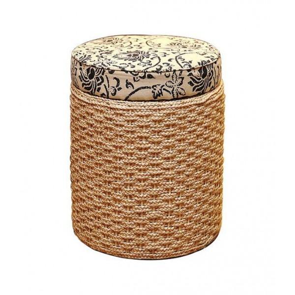Pouf contenitore poggiapiedi cesto scarpiera poggiapiedi sgabello intrecciato in rattan soggiorno spogliatoio trucco sgabello contenitore vimini ottomano