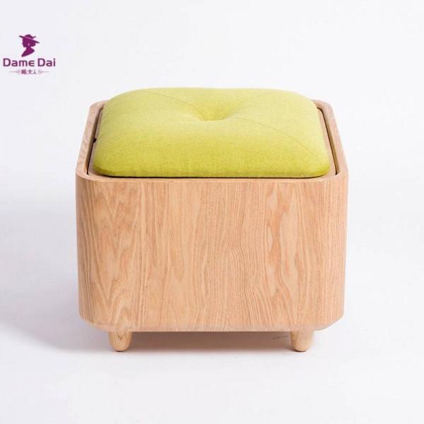 Organizzatore in legno Sgabello contenitore Panca pouf Scatola poggiapiedi Tavolino cubo Mobili ottomano Cuscino in tessuto Sedile superiore ottomano