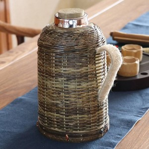 1600 ml di articoli per la cucina con contenitore per bottiglie di acqua tessute a mano in tessuto di bambù con bollitore termico e coperchio con pallone per vuoto creativo