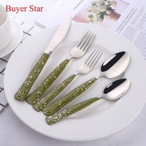 Posate occidentali in acciaio inossidabile 18/8 con manico a punti 5 pezzi / set set di posate da tavola per piatti da cucina per coltelli forchetta cucchiaio