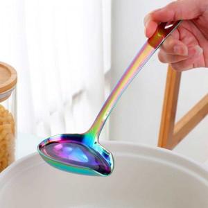 1 pz mestolo in acciaio inossidabile con manico lungo beccuccio pentola calda con intaglio zuppa di anatra bocca a forma di utensili da cucina