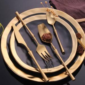 Set di posate in acciaio inossidabile 304 Set di stoviglie in oro Posate di stoviglie per alimenti occidentali Articoli per la tavola Regalo di Natale Trasporto di goccia