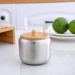 Combinazione di vasche di condimento in acciaio inossidabile 304 Set da 3 pezzi Scatola di condimento con struttura in legno Forniture per cucina Vasetti per spezie Agitatori di sale