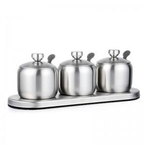 Vasetti per spezie sferici in acciaio 304stainless Set Agitatori per pepe in sale Spray per condimento Utensili da cucina Distributore di cereali