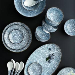 Set di piatti da pranzo in porcellana per 6 persone Set di stoviglie in ceramica di design giapponese a 22 teste