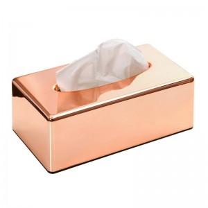 Placcatura in ABS Porta scatola di fazzoletti in oro rosa Soggiorno Cucina Ristorante Portatovaglioli di carta igienica Lslak Mendil Kutusu