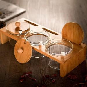 Pallet di bambù Vasetti di spezie Spezie di vetro Condimenti trasparenti Vasetti di sale Vasetti di condimento Lattine di pepe Set di pentole per condimento creativo