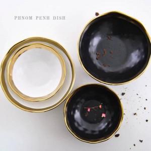 Ciotola occidentale in oro nero Piatto in ceramica Creativo Phnom Penh Piatto da colazione Home Restaurant Piatto da bistecca