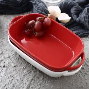 Piatto di cottura in ceramica Ravioli di formaggio Piatti di riso Stoviglie per uso domestico Cottura Rigonfiamento rettangolare Ciotola da forno Forno a microonde Specialità