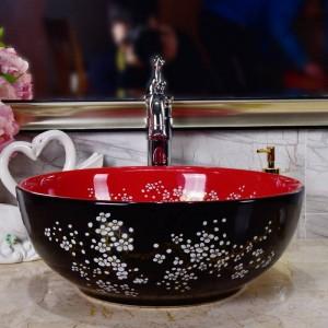Lavabo in ceramica Lavabo in Plum Blossom in porcellana nera con lavabo classico in arte con lavabo in ceramica