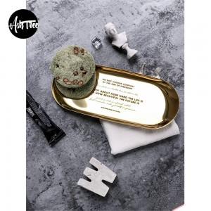 Elegante piatto scandinavo in metallo per ufficio Tavolo da cucina Nordico Elegante lusso Oro Lettering Scrivania Vassoio portaoggetti Organizer Decor