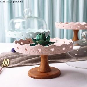 Creativo Vassoio per frutta in ceramica Ciotola per frutta alta Vassoio per tavolo da dessert Espositore Vassoio per torta Scaffale per torta Decorazione di Natale Cupcake
