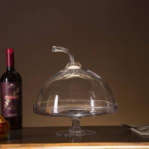 Creativo supporto per torta di zucca in vetro composta da vassoio decorativo da dessert con accessori per stoviglie e bicchieri