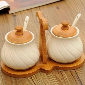 Forniture da cucina creative Set di vasi per spezie in ceramica Set 2 pezzi / set Vaso di condimento bianco Vaso di sale bianco per condimento europeo
