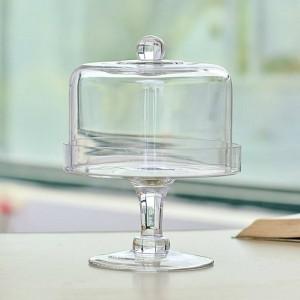 Creativo in vetro trasparente con coperchio da dessert da tavolo con cremagliera in polvere, copertura per frutta, vassoio, snack, decorazione da tavola