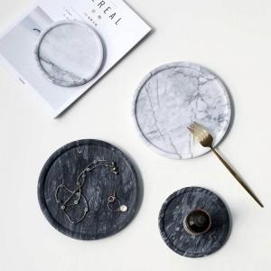 Piatto da dessert Piatto in marmo fatto a mano semplice Vassoio portaoggetti decorativo Vassoio decorativo