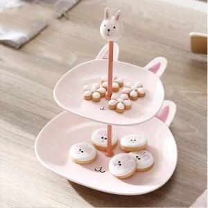 Scodella per frutta in ceramica a doppio strato Scaffale per frutta Creativo da dessert multistrato Decorazione da tavola Decorazione da tavola Torta da dessert