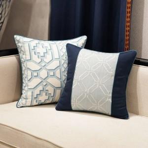 Elegante federa nordica Geometria Blu di lusso Jacquard Tiro Cuscino decorativo Car Cover Housse De Coussin Regalo tessile per la casa