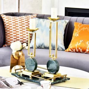 Candelabro modello stanza smeraldo decorazione della tavola decorazione candeliere in marmo metallo ornamento europeo Portacandele decorativi