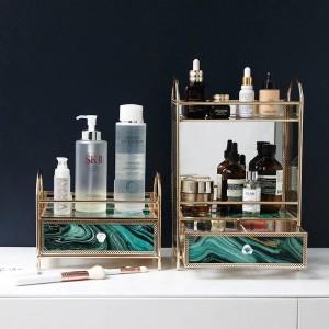 Scatola di immagazzinaggio cosmetica multistrato in vetro creativo europeo Profumatore da tavolo Cura della pelle Rossetto Rack di finitura