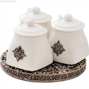 Vaso per condimento rotante da cucina europeo Set in ceramica Combinazione creativa Forniture per cucina da 3 pezzi Scatola di condimento per serbatoi di sale d'olio