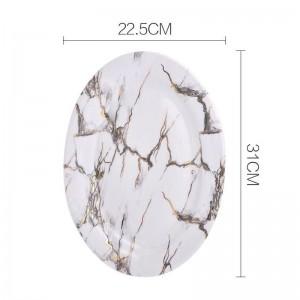 Piattino in ceramica in stile europeo con motivo in marmo di grandi dimensioni per la famiglia Piatto di pesce Spaghetti all'uovo Piatto tondo Verdure Piattino grande