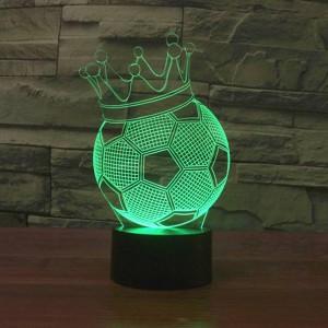 Luci notturne a LED a corona di calcio 3D creativi 7 colori Cambiamento di deco per le vacanze Lampada da illusione USB Lampada da comodino per bambini in acrilico