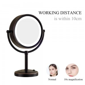 Specchio per il trucco illuminato in bronzo lucidato a olio con 3 luci di modalità e ingrandimento 10X / 1X, specchi da appoggio sul tavolo da toeletta