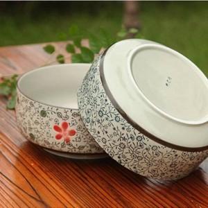 Grande ciotola di minestra di porcellana bianca e blu in ceramica ad alta temperatura utensili da cucina ciotola di ceramica Grande ramen