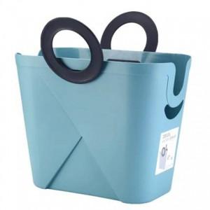 Cesto portaoggetti trapuntato rettangolare in plastica di grandi dimensioni con cestello portaoggetti per il bagno, cesto per la spesa, giocattoli sporchi