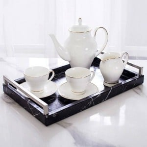 Vassoio di marmo rettangolare nordico di lusso leggero per la casa Vassoio di stoccaggio di gioielli Vassoio di tè Modello di marmo anticato classico