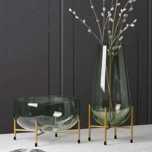 Vaso di vetro di lusso di design piatto da frutta moderno minimalista vaso trasparente decorazione della casa regalo creativo decorazione