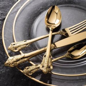 Set di stoviglie di lusso dorato Posate in acciaio inossidabile placcato in oro Stoviglie da tavola Coltello da pranzo Forchetta Cucchiaio da tavola