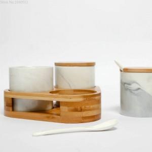 Modello in marmo Barattolo di spezie in ceramica e vassoio Portaspezie Vaso di spezie per sale e pepe Utensili da cucina Bottiglia per condimento Utensili da cucina
