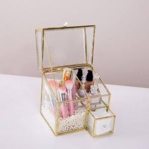 Scatola di immagazzinaggio di cosmetici multifunzionale Scatola di vetro di polvere vibrante Scatola di finitura di profumo di rossetto Deposito di cosmetici da scrivania