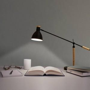 Lampada da tavolo a LED nordica Lampada da tavolo minimalista Interruttore moderno in legno di colore rosso bianco nero Lampada da lettura per ufficio da letto