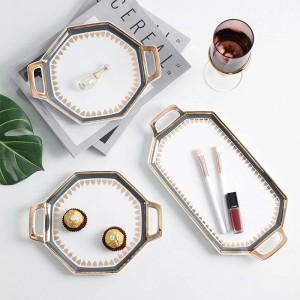 Portico dorato in stile nordico di lusso in oro con portico in ceramica Piatto da dessert da dessert Piatto da sushi Vassoio per la conservazione di gioielli Vassoio Bina