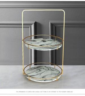 Rack di stoccaggio di gioielli di lusso nordico Semplice rack moderno a doppio strato Rack di finitura per cosmetici Decorazione morbida