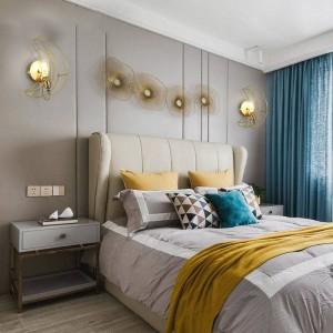 Personalità creativa moderna nordica Lampade da parete in vero luna di luna in camera da letto foyer camera da letto in rame piena luce a parete E27 90-260V