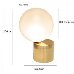 Lampada da tavolo post moderna a LED Lampada G9 creativa Lampada da tavolo in vetro bianco paralume lampada da ufficio semplice luce decorazione personalità