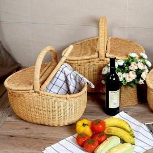 Cestino della frutta del cestino della spesa del rattan con il cestino di stoccaggio all'aperto del cestino di picnic del coperchio