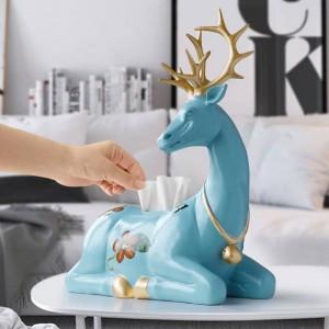 Statue di cervi in resina per decorazioni per la casa Scatola per fazzoletti di carta Contenitore per contenitori Animali da tavolo Cervi Sculture Decorazioni per l'ufficio domestico