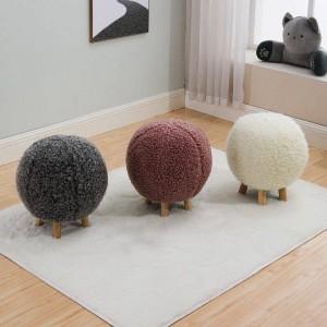 Pouf in lana a maglia sferica Poggiapiedi in legno Sedia Divano Mobili Pouf Home Decor Panca Struttura in legno opzionale multicolore