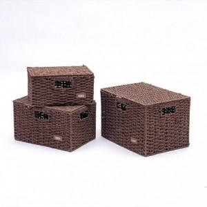 Scatola portaoggetti in paglia scatola da scrivania in rattan scatola raccolta libri con cestino intimo coperchio intimo tessuto