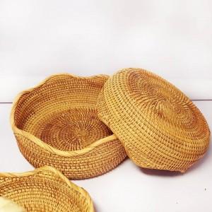 Cestino di immagazzinaggio del pane cotto a vapore pane della scatola di immagazzinaggio del rattan vietnamita del piatto della frutta della casa spuntini del tè del cestino della caramella