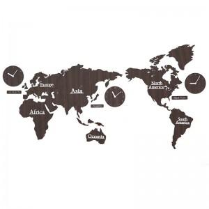 Orologio da parete con mappa del mondo Soggiorno Orologio da personalità nordico Sfondo Orologi da parete decorazione Orologio da parete in legno fai-da-te Decorazione da parete