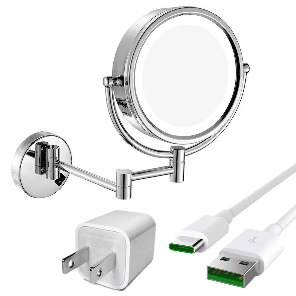 LED Lighted Wall Mount bath Vanity Makeup Mirror with 10X Magnification,Cordless USB Rechargeable, Chrome Polished