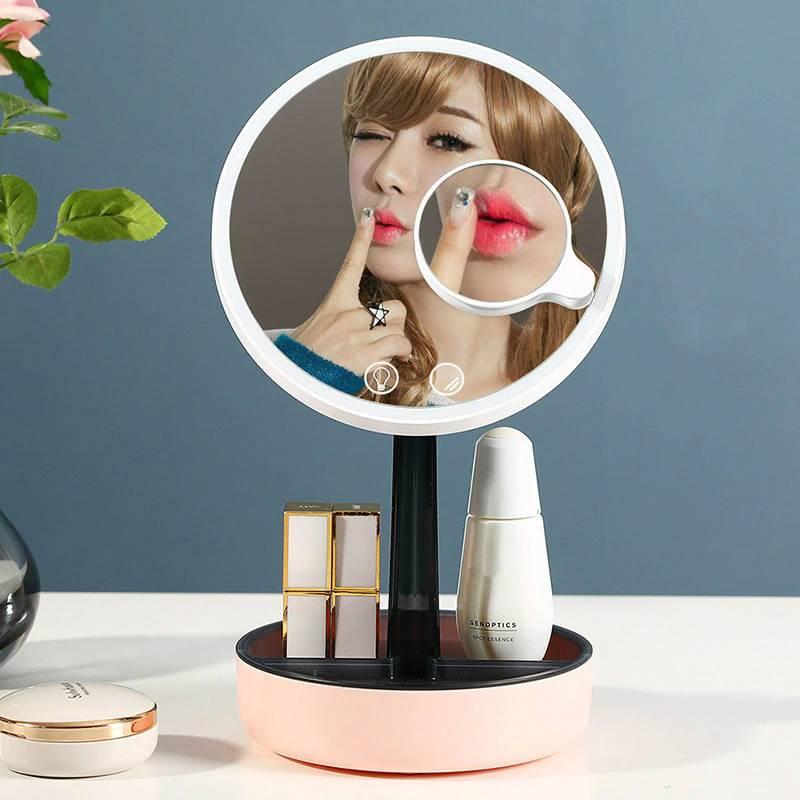 Household makeup mirror desktop with led light girl dressing table fill light mirror night light for bedroom mx12291420